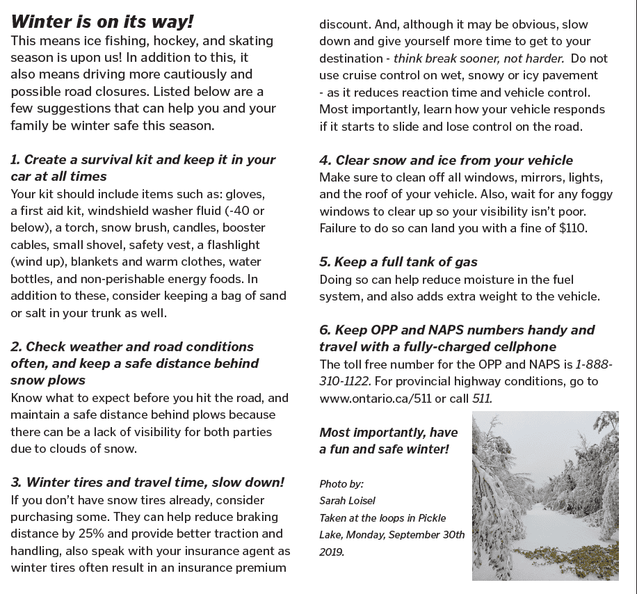 Winter Safety Tips Pickle Lake